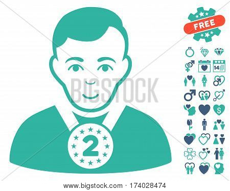 2nd Prizer Sportsman pictograph with bonus amour pictograms. Vector illustration style is flat iconic cobalt and cyan symbols on white background.