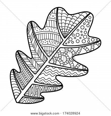 Coloring Page Oak Leaf with Decorative Ornament. Black and White Leaf Contour for Coloring Book. Doodle Art.
