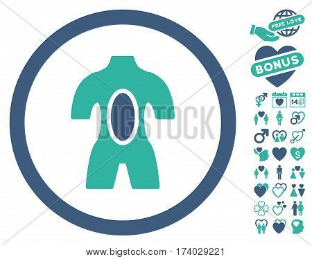 Anatomy icon with bonus dating pictures. Vector illustration style is flat iconic cobalt and cyan symbols on white background.