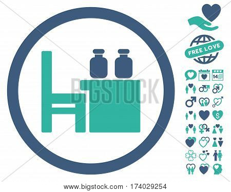 Apothecary Table icon with bonus marriage pictograms. Vector illustration style is flat iconic cobalt and cyan symbols on white background.