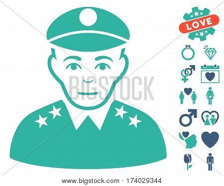 Army General icon with bonus valentine graphic icons. Vector illustration style is flat iconic cobalt and cyan symbols on white background.