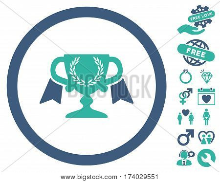 Award Cup pictograph with bonus romantic images. Vector illustration style is flat iconic cobalt and cyan symbols on white background.