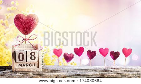 8 Hearts With Mimosa And Calendar For Women Day Background