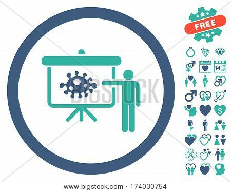 Bacteria Lecture pictograph with bonus romantic symbols. Vector illustration style is flat iconic cobalt and cyan symbols on white background.