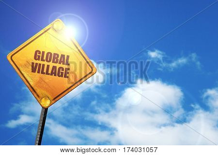 global village, 3D rendering, traffic sign