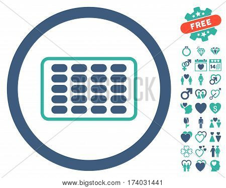 Blister icon with bonus decorative clip art. Vector illustration style is flat iconic cobalt and cyan symbols on white background.