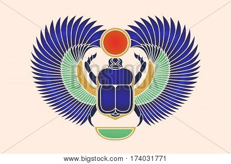 Beetle scarab with wings, sun and a crescent moon. Ancient Egyptian culture. God Khepri Sun morning dawn. The emblem, logo. Object isolated on white background. Vector illustration.