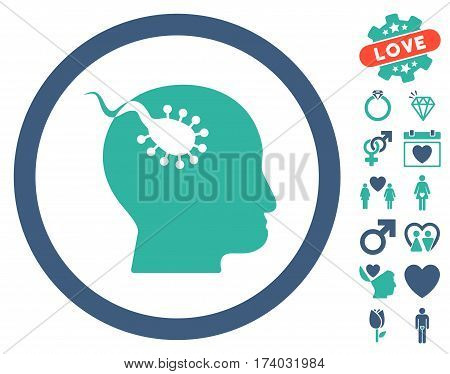 Brain Parasite icon with bonus marriage pictures. Vector illustration style is flat iconic cobalt and cyan symbols on white background.