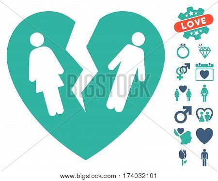Broken Family Heart pictograph with bonus decorative images. Vector illustration style is flat iconic cobalt and cyan symbols on white background.