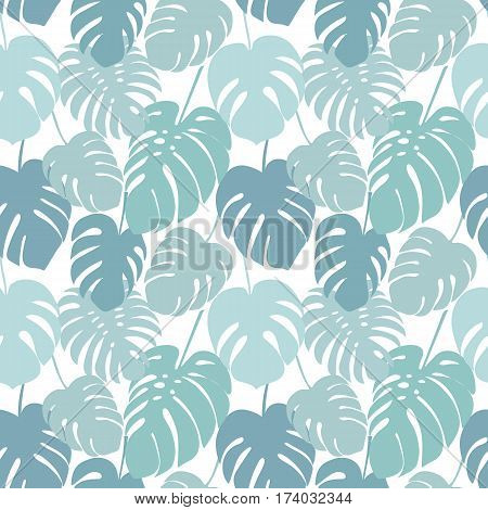 Seamless pattern with tropical monstera leaves. Decorative image of tropical foliage.