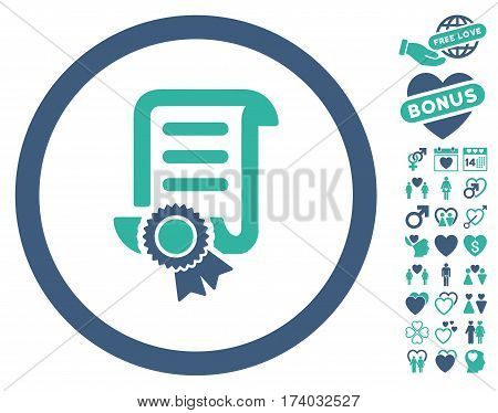 Certified Scroll Document icon with bonus lovely images. Vector illustration style is flat iconic cobalt and cyan symbols on white background.