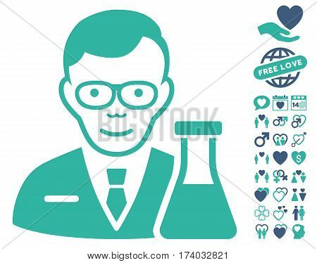 Chemist pictograph with bonus valentine clip art. Vector illustration style is flat iconic cobalt and cyan symbols on white background.