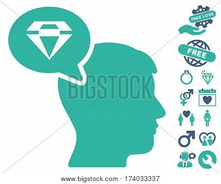 Diamond Thinking pictograph with bonus valentine pictograph collection. Vector illustration style is flat iconic cobalt and cyan symbols on white background.