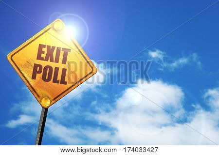 exit poll, 3D rendering, traffic sign