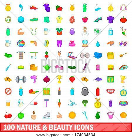 100 nature and beauty icons set in cartoon style for any design vector illustration