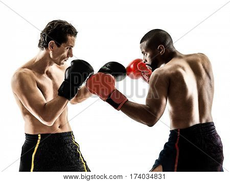 two caucasian kickboxing kickboxer men isolated on white background