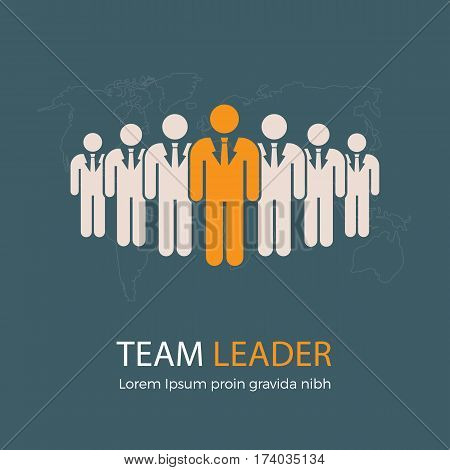Team Leader Illustration. Leader and Group of People with World Map Illustration