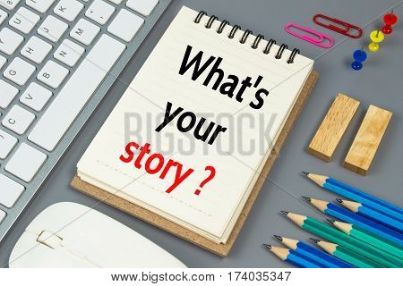 what's your story, Text message on white paper