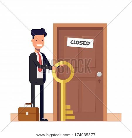 Businessman or manager with more keys standing near the closed door. The concept of solving the problem. Flat character isolated on white background. Vector, illustration EPS10