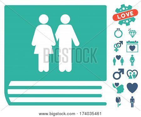 Family Album icon with bonus marriage symbols. Vector illustration style is flat iconic cobalt and cyan symbols on white background.