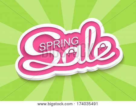 Spring sale. Sale banner with calligraphic inscription. Vector illustration.