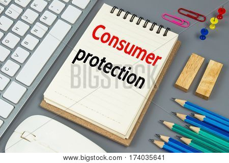 Consumer protection, Text message on white paper