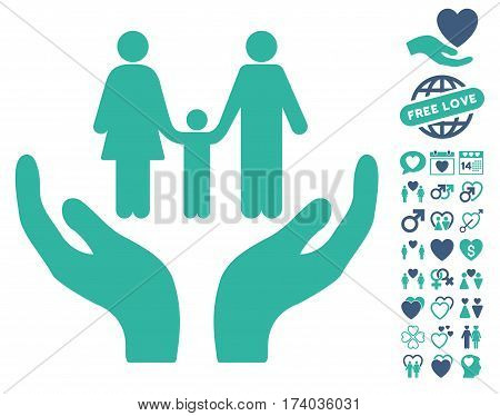 Family Care Hands pictograph with bonus dating symbols. Vector illustration style is flat iconic cobalt and cyan symbols on white background.