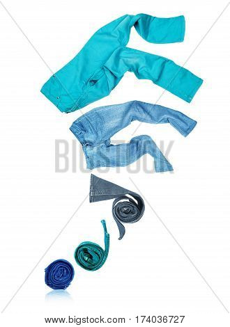 Rolled jeans unfolds and flies up isolated on white background