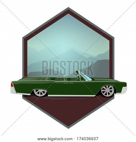 Retro gangster car. Car icons in flat. Classic transportation.