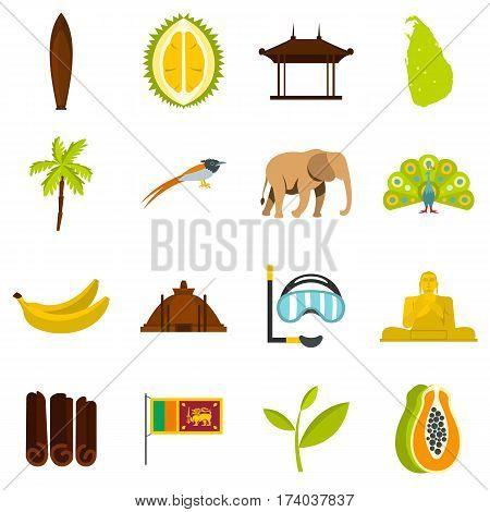 Sri Lanka travel set icons in flat style isolated on white background