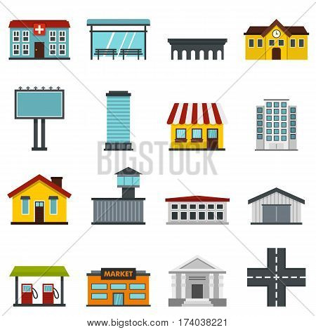 City infrastructure items set icons in flat style isolated on white background