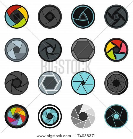 Photo diaphragm set. Flat illustration of 16 photo diaphragm vector set icons in flat style isolated on white background