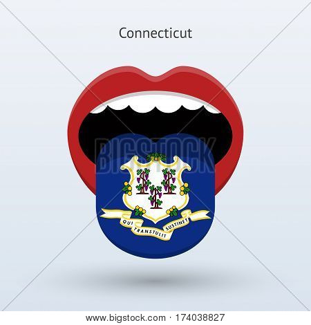 Electoral vote of Connecticut. Abstract mouth. Vector illustration.