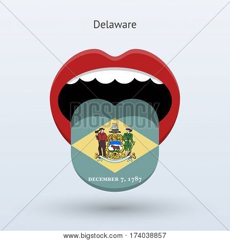 Electoral vote of Delaware. Abstract mouth. Vector illustration.