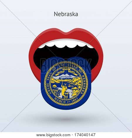 Electoral vote of Nebraska. Abstract mouth. Vector illustration.