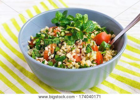 Tabbouleh Green Salad. Healthy Food And Vegetarian Concept