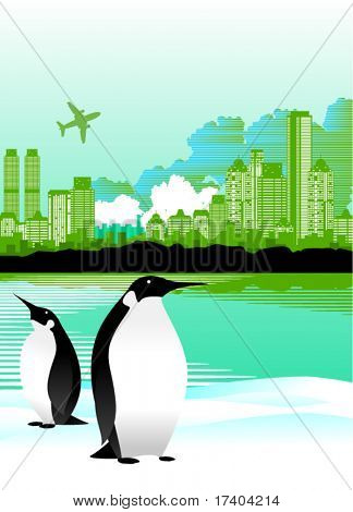 penguins and city vector