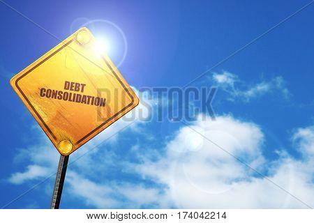 debt consolidation, 3D rendering, traffic sign