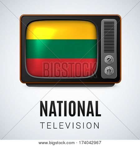 Vintage TV and Flag of Lithuania as Symbol National Television. Tele Receiver with Lithuanian flag