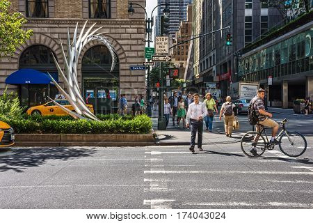 NEW YORK-JULY 24 - Modern Art sculpture on display at this intersection along Park Ave on July 24 2015 in New York City.