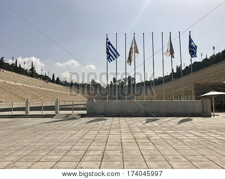 ATHENS - FEBRUARY 28, 2017: The Panathenaic Stadium, also known as Kallimarmaro, hosted the first modern Olympic Games in 1896 and is the world's only white marble stadium in Athens, Greece.