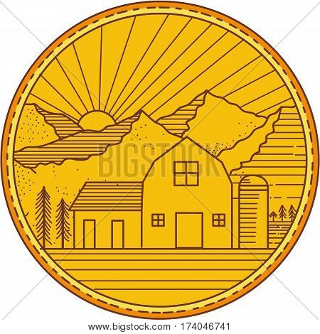 Mono line style iIllustration of an American farm barn house with silo and trees and mountain and sun burst in the background set inside circle.
