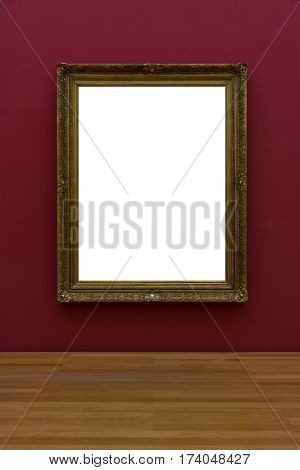 Blank White Art Gallery Frame Picture Wall White Contemporary Modern Rectangular Shape Isolated Empt
