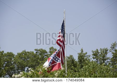 American And Mississippi Flags