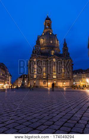 Dresden Frauenkirche Exterior City Landscape Square Marktplatz Center Architecture Beautiful Religio