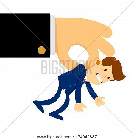 Vector stock of a big hand picked and lift small businessman in the air