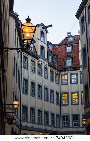 Leipzig Barthels Hof Courtyard Shopping Area Famous Medieval Spot Germany European Architecture