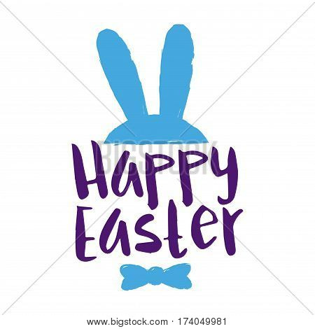 Vector stock of happy easter greetings lettering with bunny ears and bow tie shape