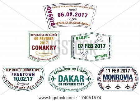 Stylized Passport Stamps Of Liberia, Guinea-bissau, Guinea, Sierra Leone, The Gambia And Senegal In