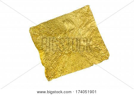 gold Foil-wrapped texture on white background. yellow foil